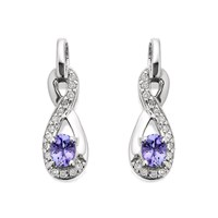 9ct White Gold Tanzanite And Diamond Figure Of Eight Earrings - 10pts per pair - D9466