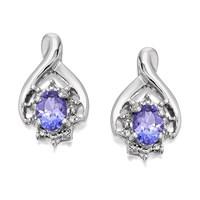 9ct White Gold Tanzanite And Diamond Earrings  5pts per pair  D9471