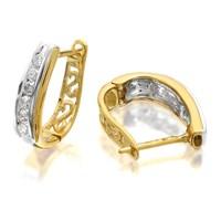 9ct Two Colour Gold Diamond Huggie Hoop Earrings - 1/4ct per pair - D9478