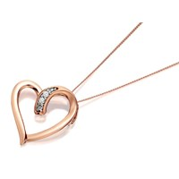 9ct Rose Gold Diamond Open Heart Pendant And Chain  D9505
