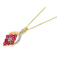 9ct Gold Ruby And Diamond Cluster Pendant And Chain - D9511
