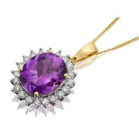 9ct Gold Diamond And Amethyst Cluster Necklace  12ct  D9552