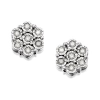 9ct White Gold Diamond Cluster Earrings - 15pts per pair - D9604