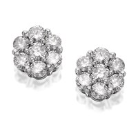 9ct White Gold 1 Carat Diamond Cluster Earrings - D9612