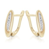 Women's Jewellery 9ct Gold Diamond Oval Hoop Earrings - 5pts per pair - D9628