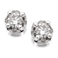 9ct White Gold Diamond Solitaire Stud Earrings - 1/4ct per pair - D9633