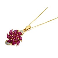 9ct Gold Ruby And Diamond Swirl Pendant And Chain - D9721