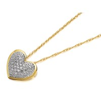 9ct Gold Diamond Heart Pendant And Chain - D9732