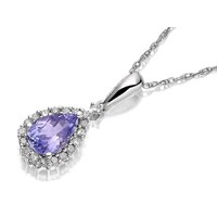 9ct White Gold Diamond And Tanzanite Pear Drop Pendant And Chain - 7pts - D9740