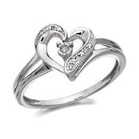 My Diamonds Silver Diamond Heart Ring  D9932L