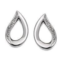 Image of My Diamonds Silver Diamond Open Teardrop Earrings - D9961