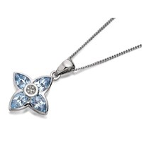 My Diamonds Silver Blue Topaz And Diamond Flower Pendant And Chain  D9970