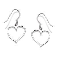 Silver Heart Hook Wire Earrings  28mm drop  F0508