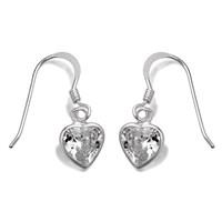 Silver Cubic Zirconia Heart Hook Wire Earrings  24mm drop  F0822