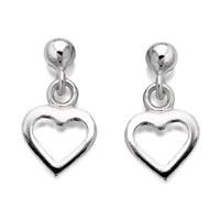 Silver Heart Drop Earrings  11mm drop  F1066