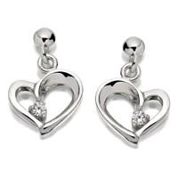 Silver Cubic Zironcia Heart Drop Earrings  12mm  F1133