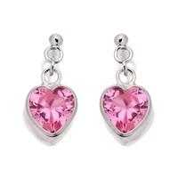 Silver Pink Cubic Zirconia Heart Drop Earrings  15mm  F1288