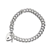 Silver Double Curb Charm Bracelet With Heart Padlock  7in  F1808