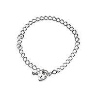 Silver Diamond Cut Curb Bracelet With Heart Padlock  8in  F1812