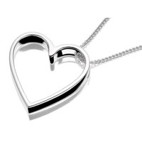 Silver Cut Out Heart Pendant And Chain  F3395