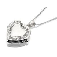 Silver Cubic Zirconia Heart Locket And Curb Chain - F4343