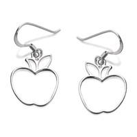 Silver Apple Hook Wire Earrings  30mm drop  F7826