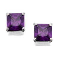 Silver Square Purple Amethyst Coloured Crystal Earrings  8mm  F7906