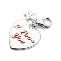 Tingle SCH237 Silver I Love You Heart Karab Clasp Charm  F8049