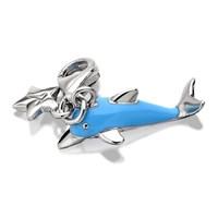 Tingle SCH258 Silver Enamel Blue Dolphin Karab Clasp Charm  F8053