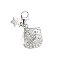 Tingle SCH143 Silver Enamel Stone Set Handbag Karab Clasp Charm  F8137