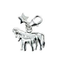 Tingle SCH168 Silver Enamel Horse & Foal Karab Clasp Charm  F8153