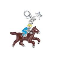 Tingle SCH179 Silver Enamel Horse & Jockey Karab Clasp Charm  F8162