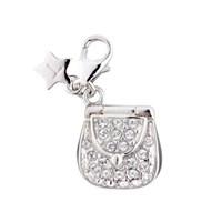 Tingle SCH180 Silver Enamel Crystal Handbag Karab Clasp Charm  F8163