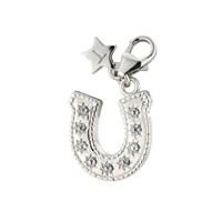 Tingle SCH239 Silver Enamel Crystal Horseshoe Karab Clasp Charm  F8220