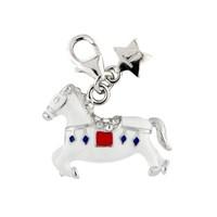 Tingle SCH241 Silver Enamel Rocking Horse Karab Clasp Charm  F8223