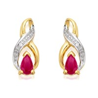 9ct Gold Two Colour Ruby And Diamond Figure Of Eight Stud Earrings - G0207