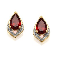 9ct Gold Pear Garnet And Diamond Stud Earrings - G0223