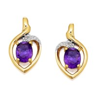 9ct Gold Amethyst And Diamond Stud Earrings - G0304