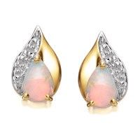 9ct Gold Opal And Diamond Earrings - 10mm - G0412