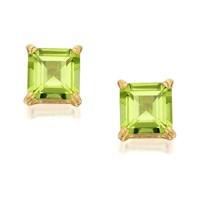 9ct Gold Square Peridot Stud Earrings - 5mm - G0415