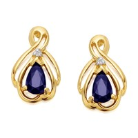 9ct Gold Sapphire And Diamond Earrings - 12mm - G0425