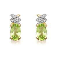 9ct Gold Oval Peridot And Diamond Earrings - 8mm - G0434