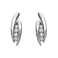 9ct White Gold Diamond Double Strand Stud Earrings - 5pts per pair - G0519