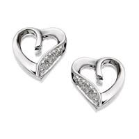 9ct White Gold Diamond Heart Earrings  7mm  G0583