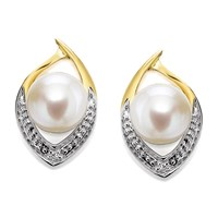 9ct Gold Two Colour Freshwater Pearl And Diamond Stud Earrings - 13mm - G0606