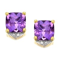 9ct Gold Cushion Amethyst And Diamond Earrings - G0607