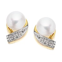 9ct Gold Diamond And Freshwater Pearl Earrings - 10mm - G0620
