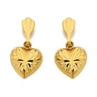 9ct Gold Heart Drop Earrings  7mm  G0709