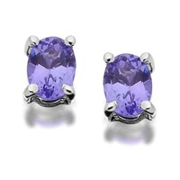 9ct White Gold Oval Tanzanite Stud Earrings - 4mm - G0810