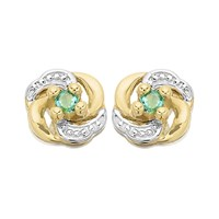 9ct Gold Two Colour Emerald Swirl Stud Earrings - 10mm - G0912